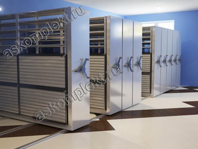 Cистема мобильных шкафов с выдвижными ящиками горизонтального хранения